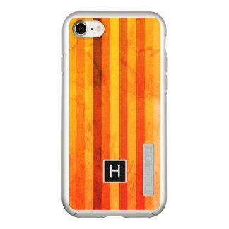 Coque Incipio DualPro Shine iPhone 8/7 Le rouge orange patiné chaud barre le monogramme