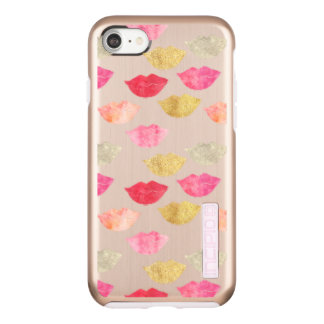 Coque Incipio DualPro Shine iPhone 8/7 Lèvres roses rouges d'aquarelle d'or