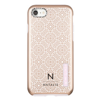Coque Incipio DualPro Shine iPhone 8/7 Monogramme moderne rose de Quatrefoil | d'or