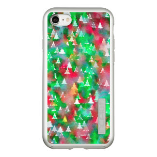 Coque Incipio DualPro Shine iPhone 8/7 Motif d'aquarelle d'arbre de Noël