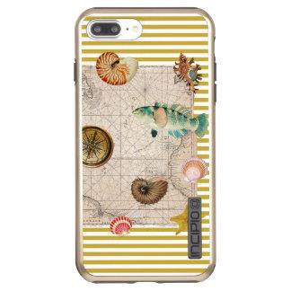 Coque Incipio DualPro Shine iPhone 8 Plus/7 Plus La marine prise les rayures jaunes de moutarde