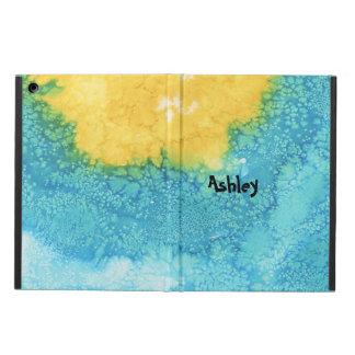 Coque iPad Air Aquarelle bleue/jaune
