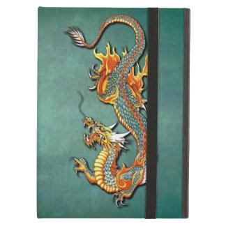 Coque iPad Air Art vintage coloré de tatouage de dragon du feu