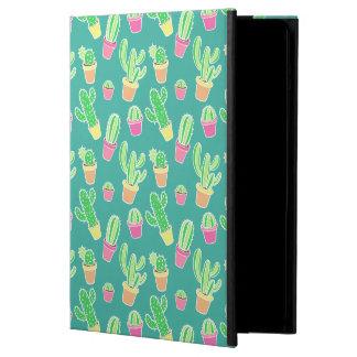 Coque iPad Air Cactus au néon d'aquarelle dans le motif de pots