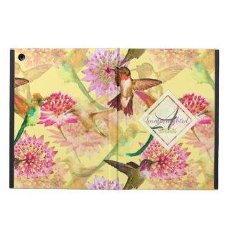 Coque iPad Air Colibris et aquarelle de monogramme d'Astrantia