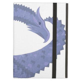 Coque iPad Air dragon Bleu-gris de coeur sur le blanc