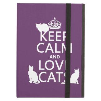 Coque iPad Air Gardez le calme et aimez les chats (dans toute