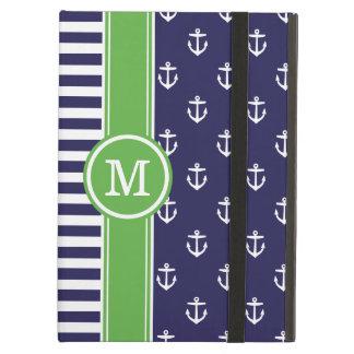 Coque iPad Air Marine et monogramme nautique d'ancres de vert