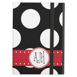 Coque iPad Air Monogramme - pois, motif pointillé - noir