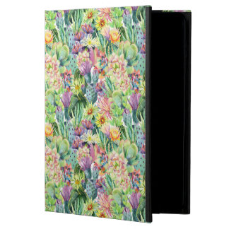 Coque iPad Air Motif de floraison exotique de cactus d'aquarelle