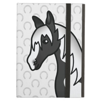 Coque iPad Air Tête de cheval noire de bande dessinée de Pinto