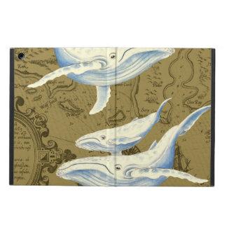 Coque iPad Air Vert olive de famille de baleines bleues