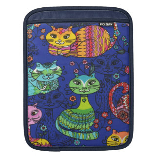 coque ipad avec les chats colorés magnifiques poches pour iPad