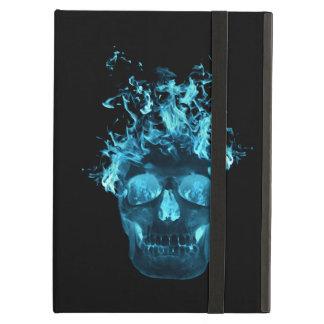 Coque ipad bleu personnalisé de crâne du feu