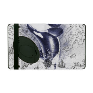 Coque iPad Bleu vintage de carte de baleine d'orque