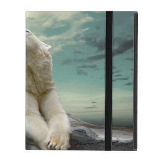 Coque iPad Chasseur blanc d'ours blanc sur la roche