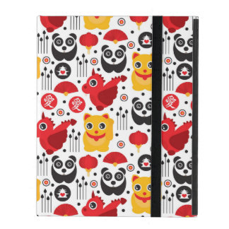 Coque iPad Chat, dragon, et panda chanceux de la Chine
