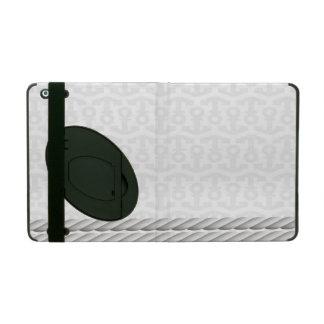 Coque iPad Conception nautique blanche d'ancre avec la corde