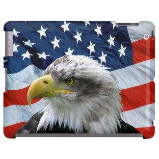 Coque ipad de drapeau américain d'Eagle chauve