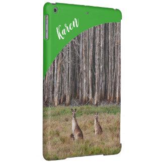 Coque ipad de kangourous avec le nom - vert