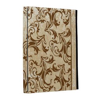 Coque ipad en bois imprimé personnalisé de damassé