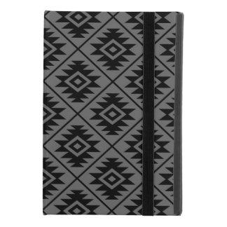 Coque iPad Mini 4 Noir stylisé de motif de symbole aztèque grand sur