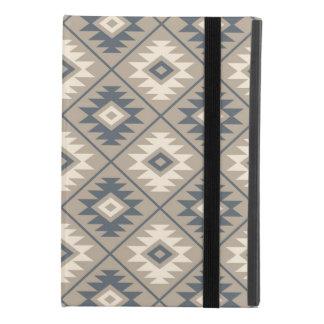 Coque iPad Mini 4 Sable crème bleu stylisé de Ptn de symbole aztèque