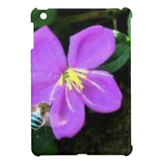 Coque iPad Mini Abeille et fleur bleues