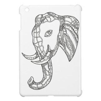 Coque iPad Mini Art de griffonnage de tête d'éléphant de Taureau