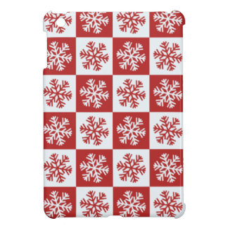 Coque iPad Mini blanc rouge de flocon de neige
