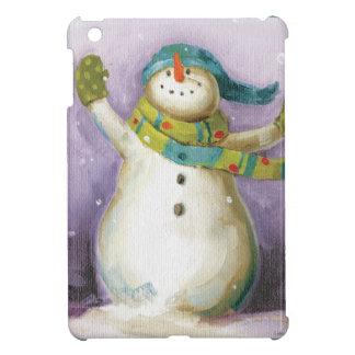 Coque iPad Mini Bonhomme de neige avec des mitaines d'hiver