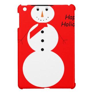 Coque iPad Mini Bonhomme de neige avec l'arrière - plan rouge