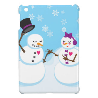 Coque iPad Mini Bonhomme de neige et Snowgirl Romance