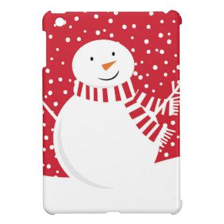 Coque iPad Mini bonhomme de neige rouge et blanc contemporain
