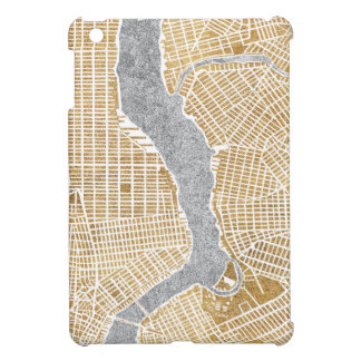 Coque iPad Mini Carte dorée de ville de New York