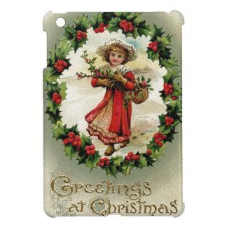Coque iPad Mini Carte vintage/victorienne de scène de Noël