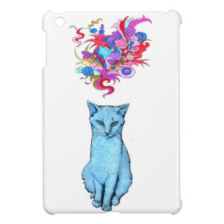 Coque iPad Mini Chat bleu psychédélique