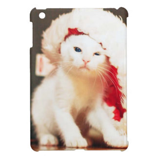 Coque iPad Mini Chat de Noël blanc