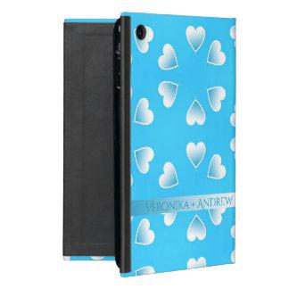 Coque iPad Mini Coeurs bleus assez petits. Ajoutez votre propre