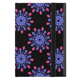 Coque iPad Mini Fleur au néon bleue et rouge