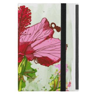 Coque iPad Mini Fleur de ketmie - peinture d'aquarelle