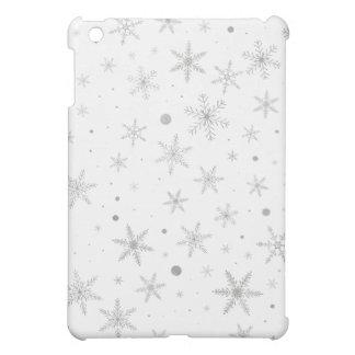 Coque iPad Mini Flocon de neige de scintillement - gris et Blanc