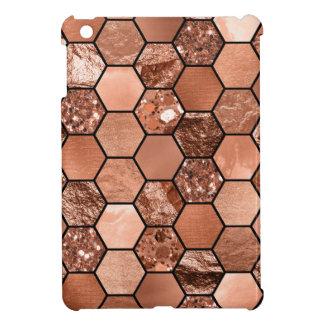 Coque iPad Mini Hexaglam rose d'or
