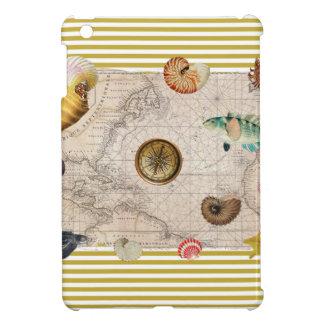 Coque iPad Mini La marine prise les rayures jaunes de moutarde