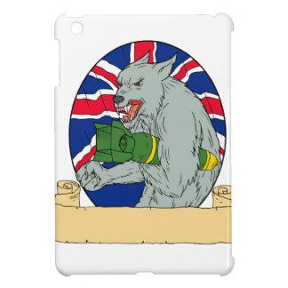 Coque iPad Mini Loup gris tenant le dessin d'Union Jack de bombe