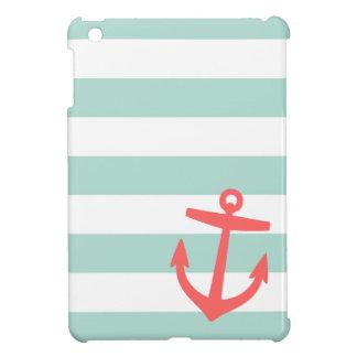 Coque iPad Mini Menthe et ancre de rayure et mignonne nautique de