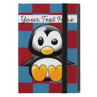 Coque iPad Mini Mini cas d'iPad mignon rouge et bleu de pingouin