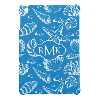 Coque iPad Mini Monogramme bleu du motif | de plage