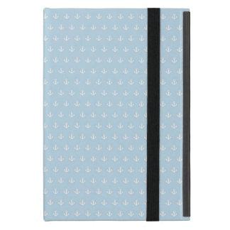 Coque iPad Mini Motif avec les ancres blanches sur le bleu