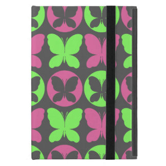 Coque iPad Mini Motif de papillon gris vert au néon rose de